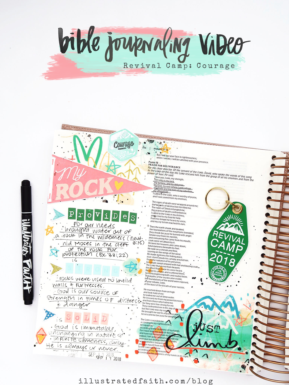 Bible Journaling Process Video by Jillian aka Hello Jillsky | Revival Camp Courage | Psalm 18:2 | Illustrating Bible