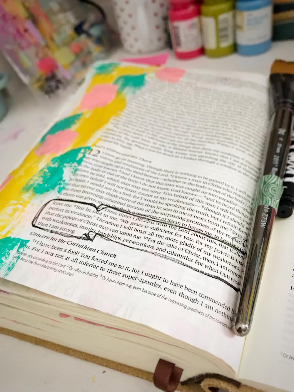 Bible Journaling Process by April Crosier | Process in the Challenge | Revival Camp | 2 Corinthians 12:9
