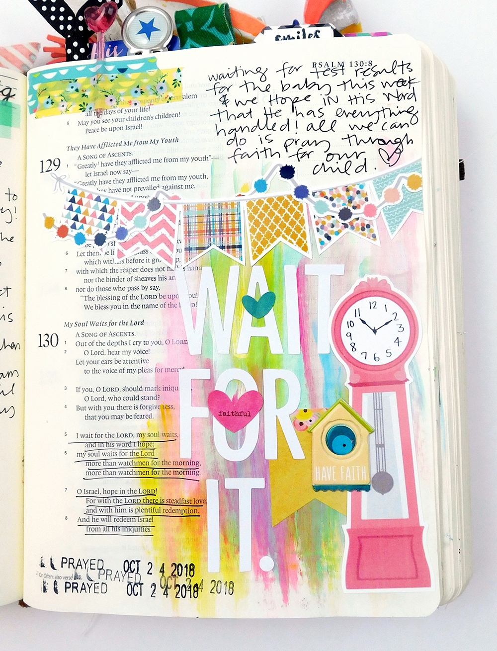 Print & Pray Hybrid Mixed Media Bible Journaling by Elaine Davis using digital printables | Wait For It... | Psalm 130
