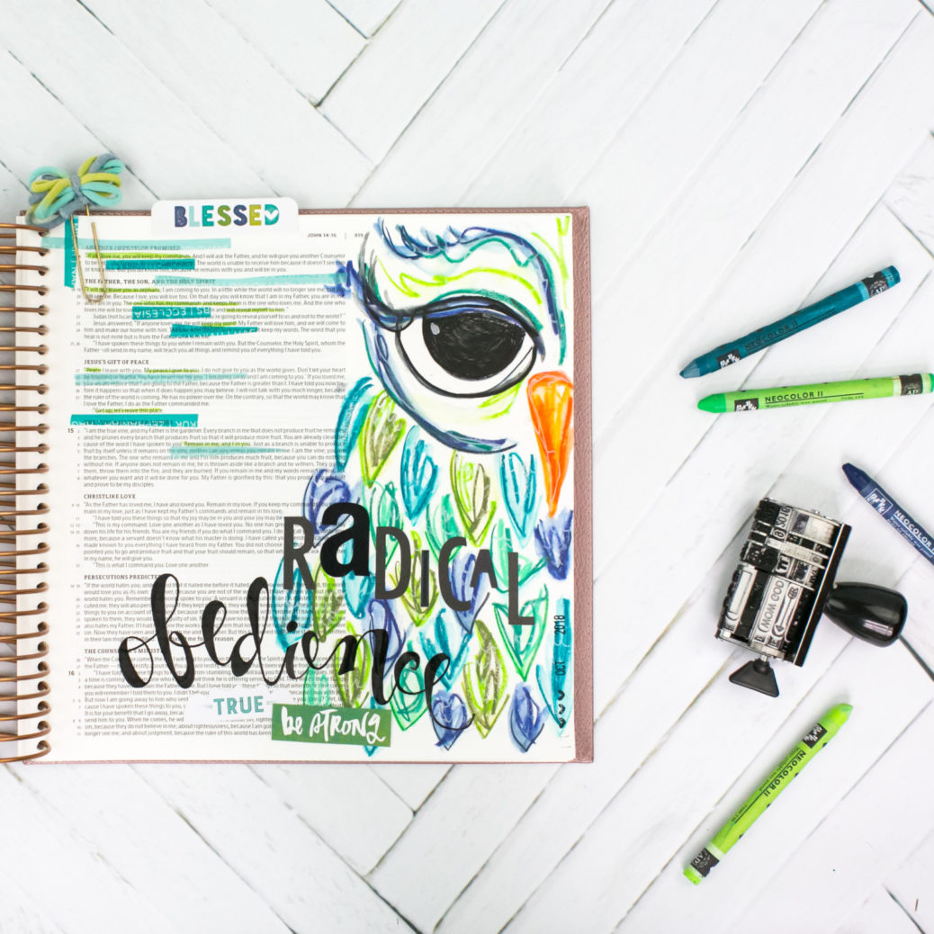 Radical Obedience - John 14:16-23 | Mixed Media Bible Journaling - Owl by Amy Bruce