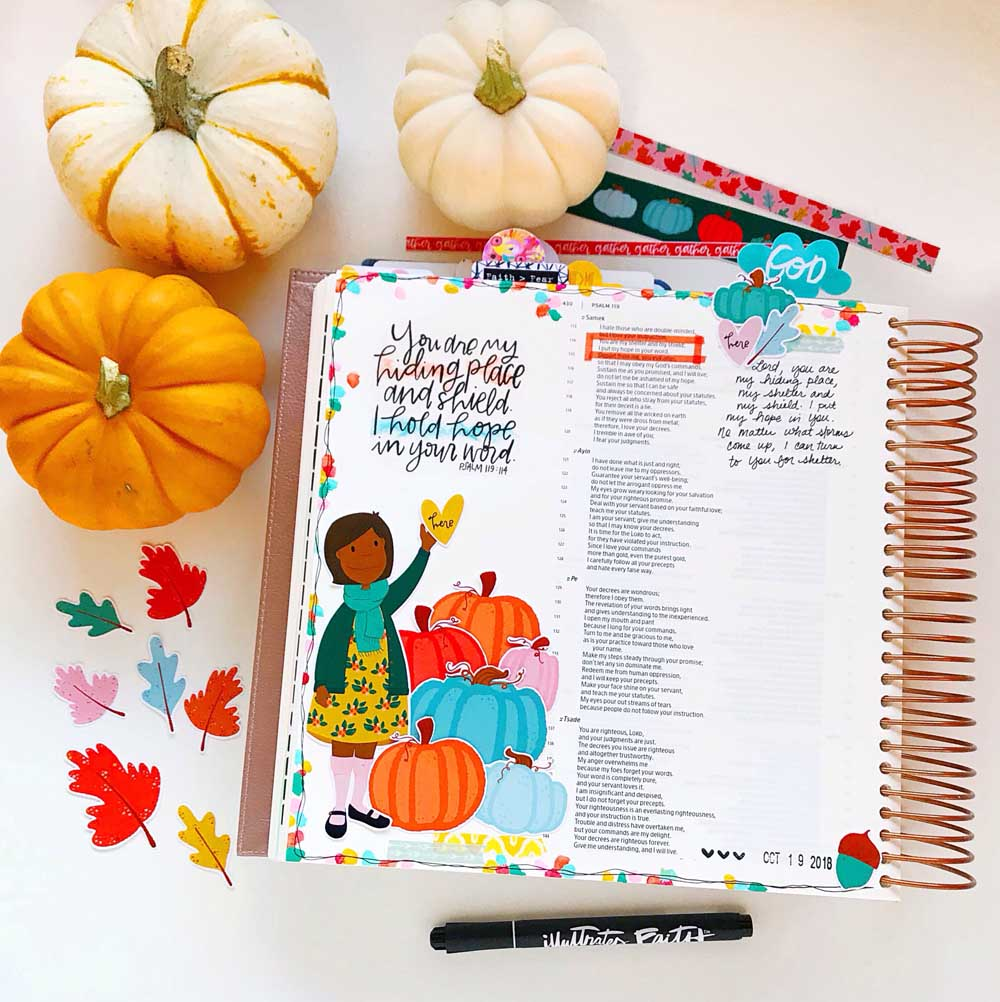 Print and Pray Hybrid Bible Journaling by Cristin Howell using digital printables | You are my Refuge