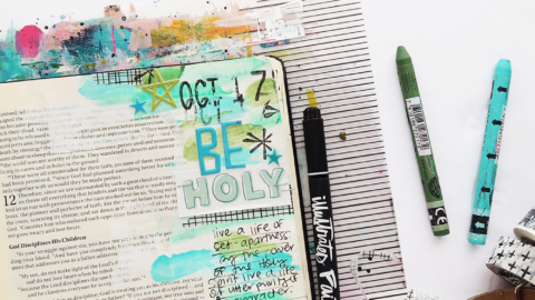 Hybrid Mixed Media Bible Journaling Process Video | Print and Pray Shop Daddy Dates | Hebrews 12:14