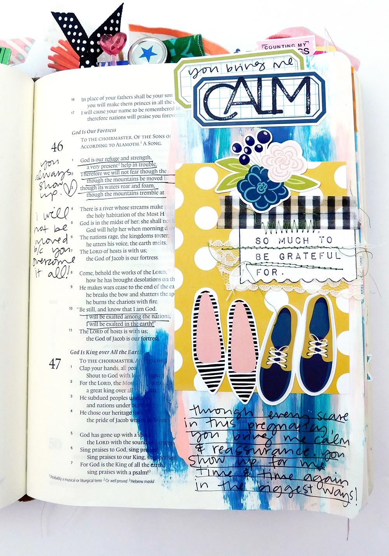 Print & Pray Hybrid Bible Journaling by Elaine Davis using digital printables | Calm | Psalm 46