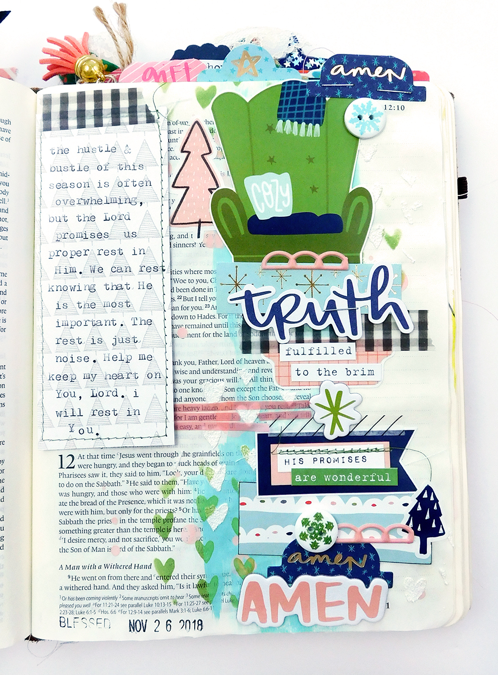 Print & Pray Hybrid Bible Journaling by Elaine Davis using digital printables | Matthew 11:28