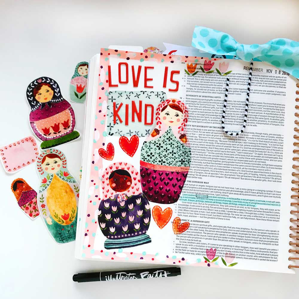 Print and Pray Hybrid Bible Journaling by Cristin Howell using digital printables | Love is Kind | 1 Cor. 13