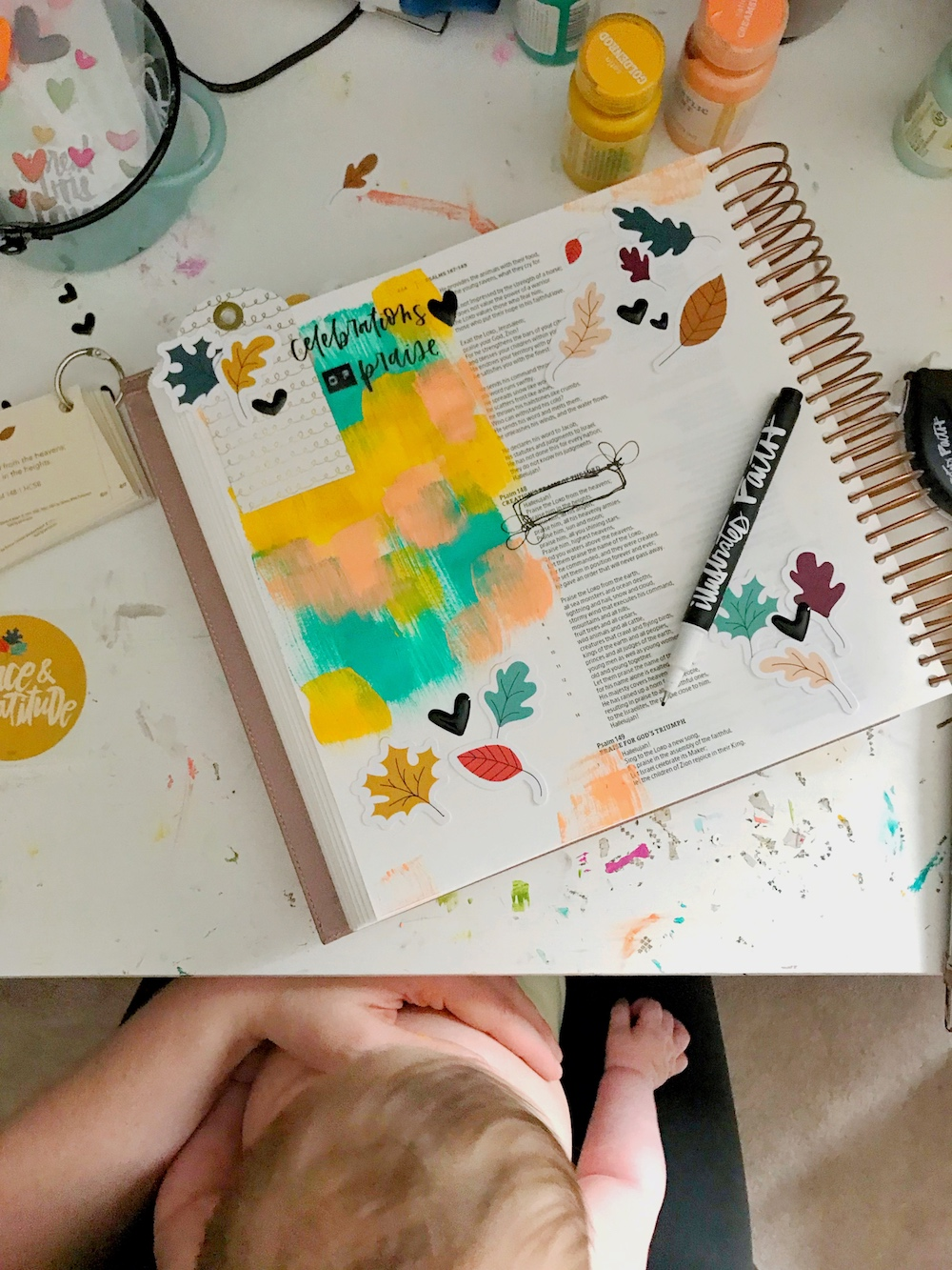 bible journaling 100 days of grace and gratitude with April aka marine parents | CELEBRATION | psalms 148:1