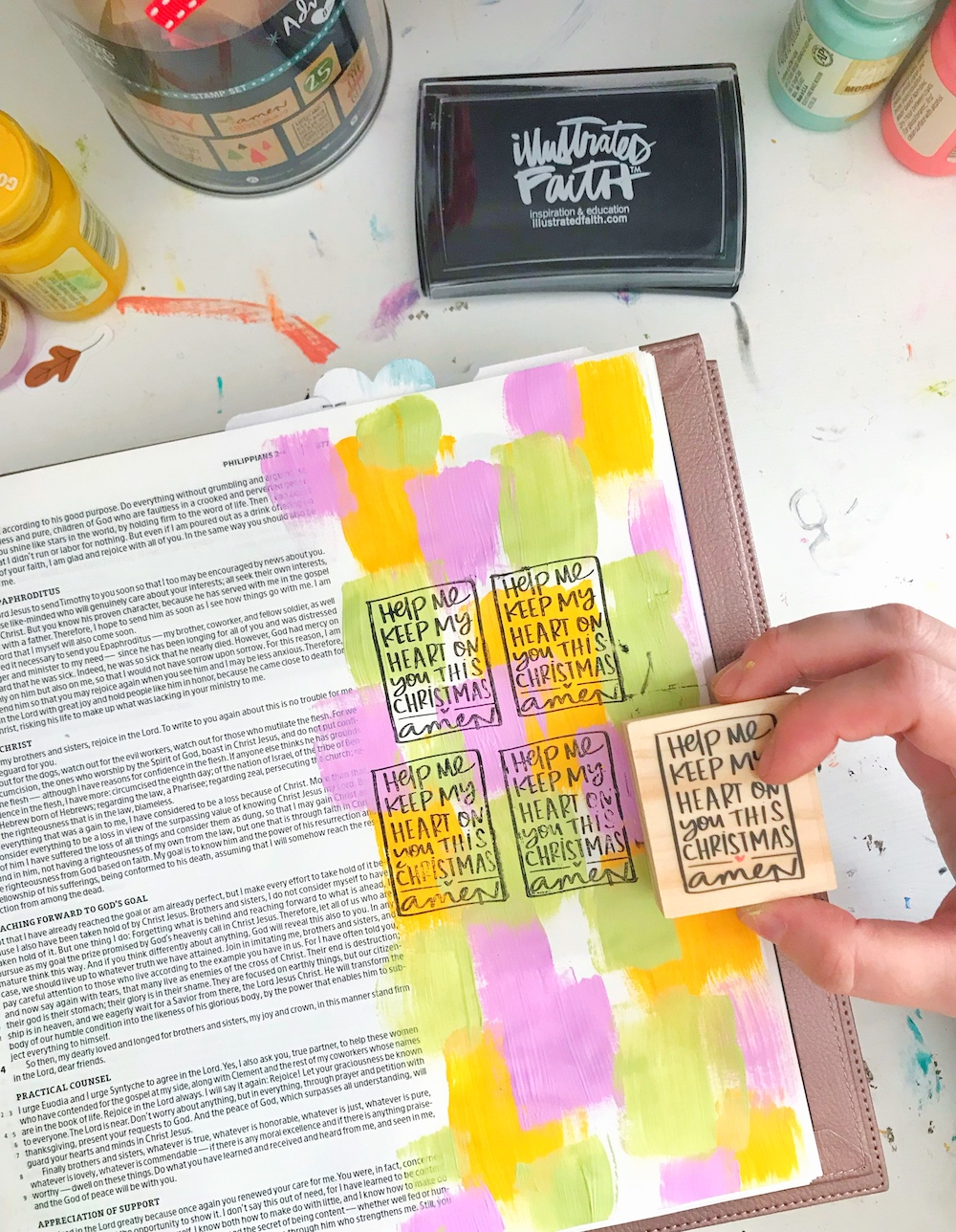 Mixed Media Bible Journaling Process using the Illustrated Faith Advent Collection available at Joann Stores | Less Art, More Jesus by April aka Marine Parents | Advent Season | Philippians 3:19-20