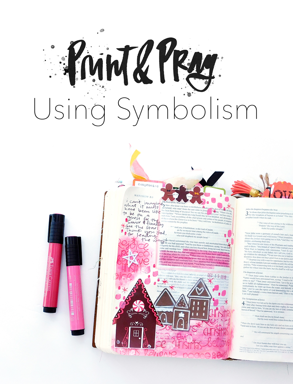 Print & Pray Hybrid Bible Journaling by Elaine Davis using digital printables | Using Symbolism!