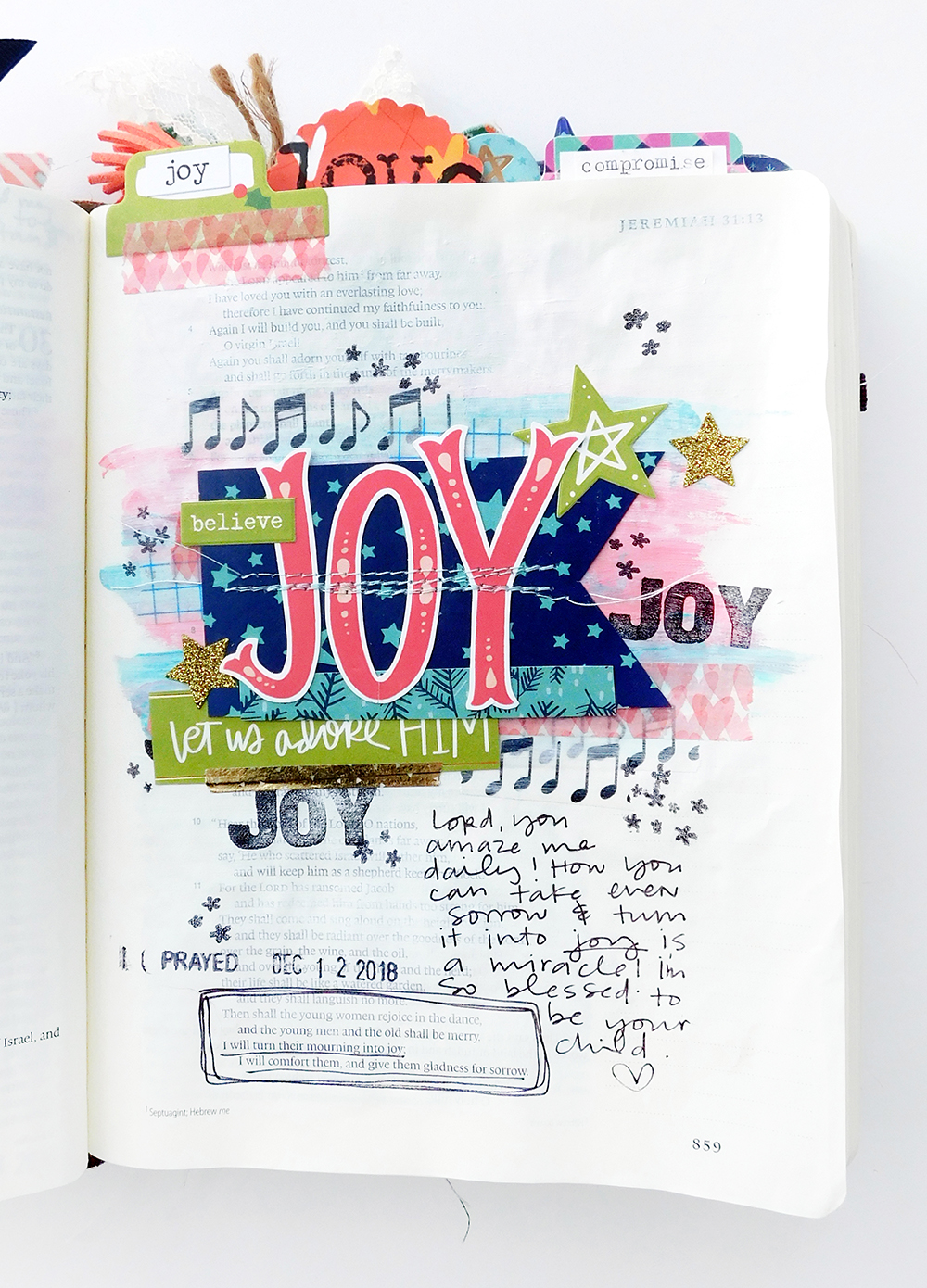 Print & Pray Hybrid Bible Journaling by Elaine Davis using digital printables | JOY | Jeremiah 31:13
