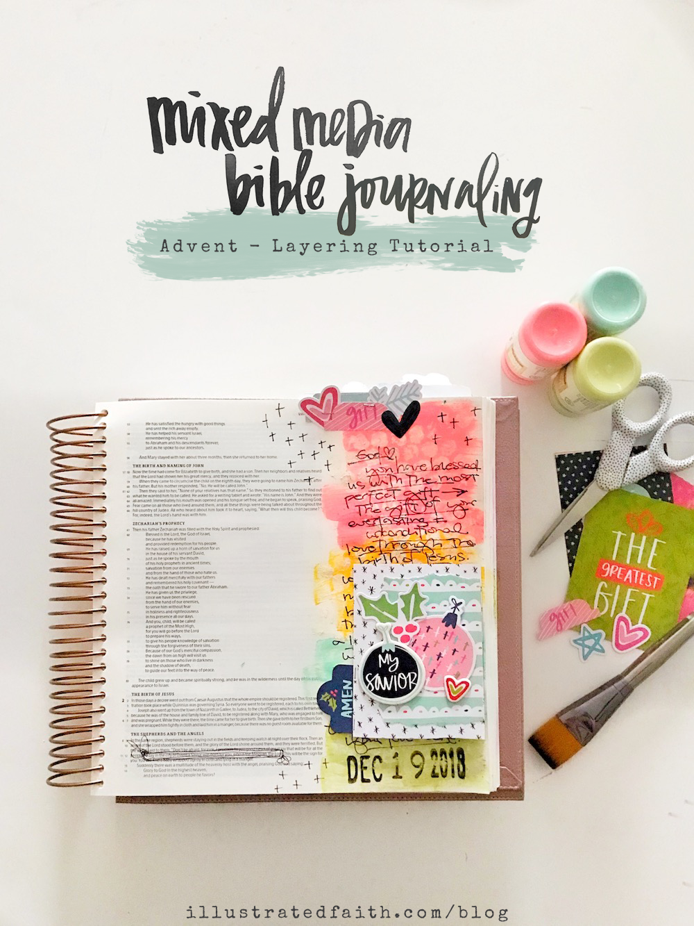 Mixed Media Bible Journaling Tutorial by April aka marine parents | Advent Collection Layering paper pieces | Luke 2:1