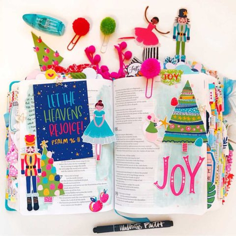 Hybrid Print and Pray Bible Journaling | Let the Heavens Rejoice! | Psalm 96