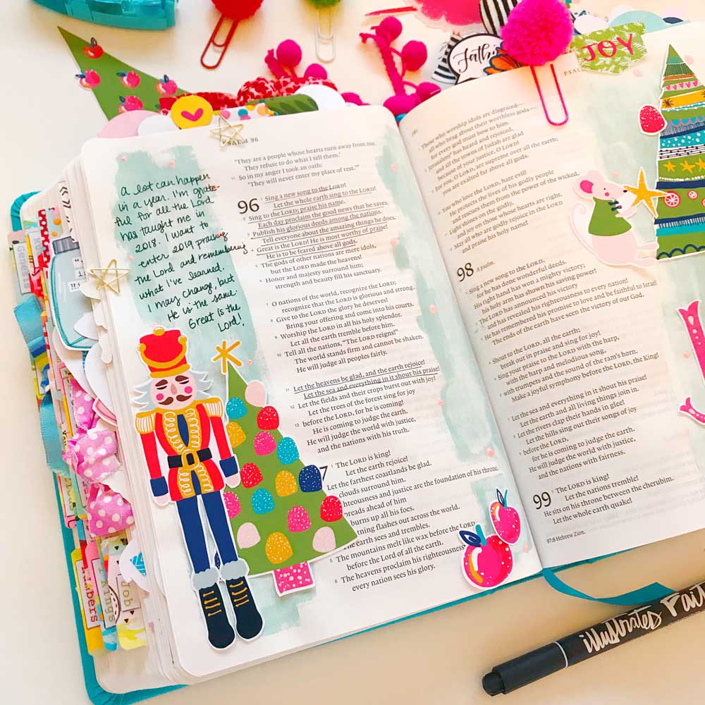 Hybrid Print and Pray Bible Journaling by Cristin Howell using digital printables | Let the Heavens Rejoice! | Psalm 96
