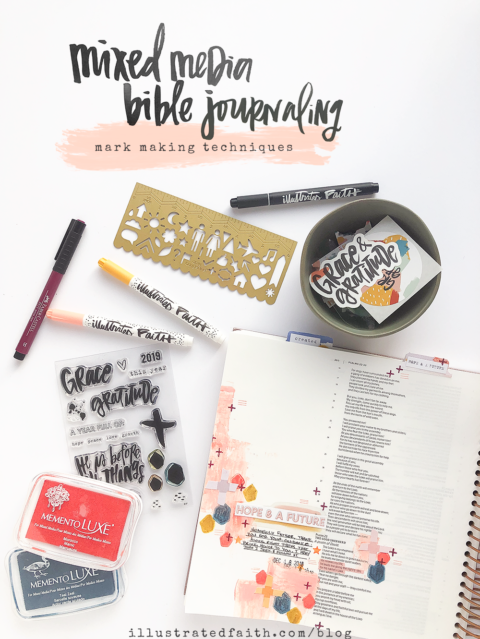 Mixed Media Bible Journaling | Mark-Making Techniques | Psalms 23:3