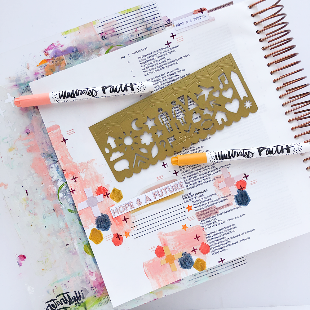Mixed Media Bible Journaling | Mark-Making Techniques by Heather Greenwood | Psalms 23:3