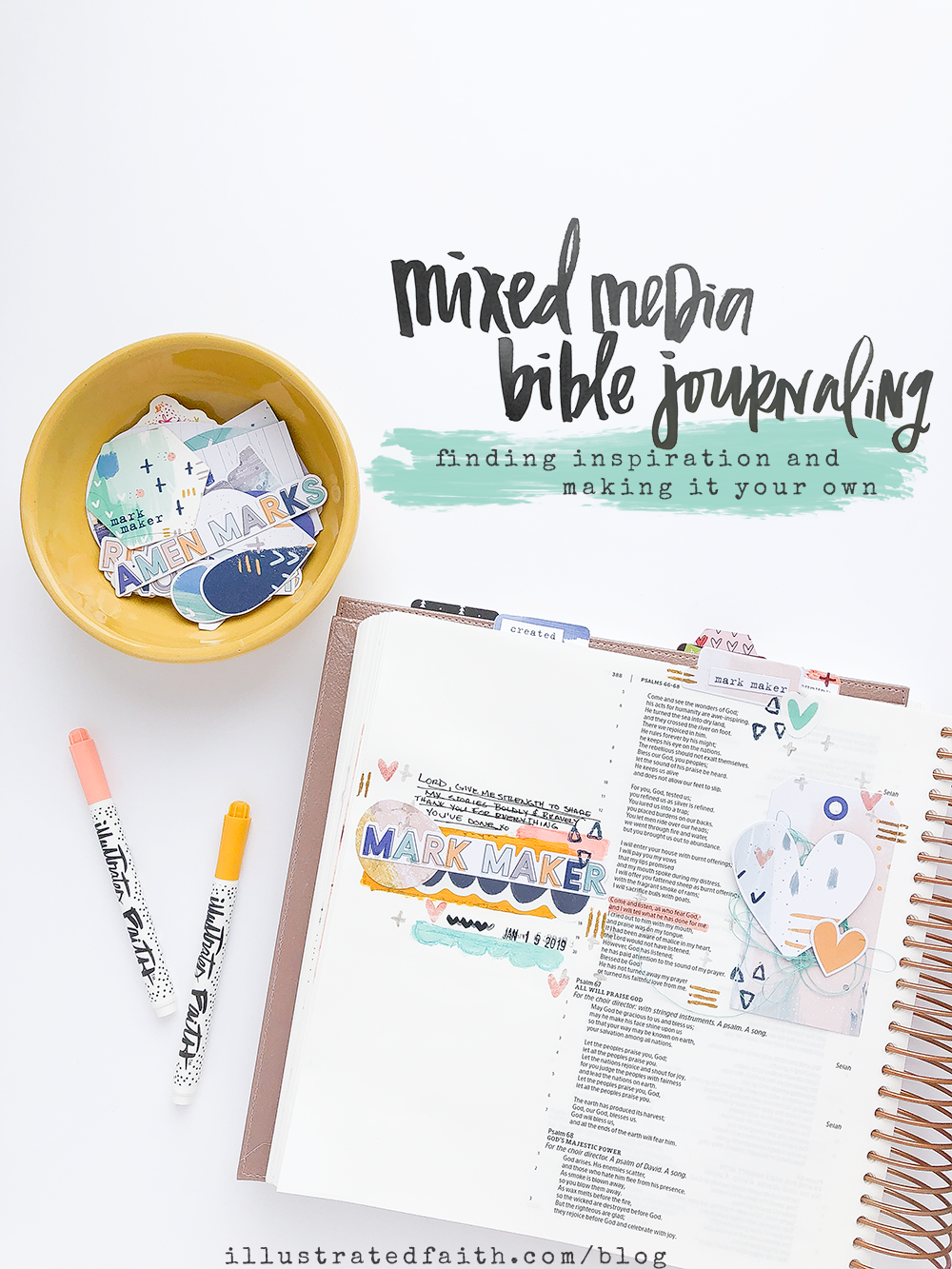 Mixed Media Bible Journaling Tutorial by Heather Greenwood - Making Inspiration Your Own, finding inspiration from Shanna Noel and Elaine Davis | Illustrated Faith Mark Maker Devotional Kit