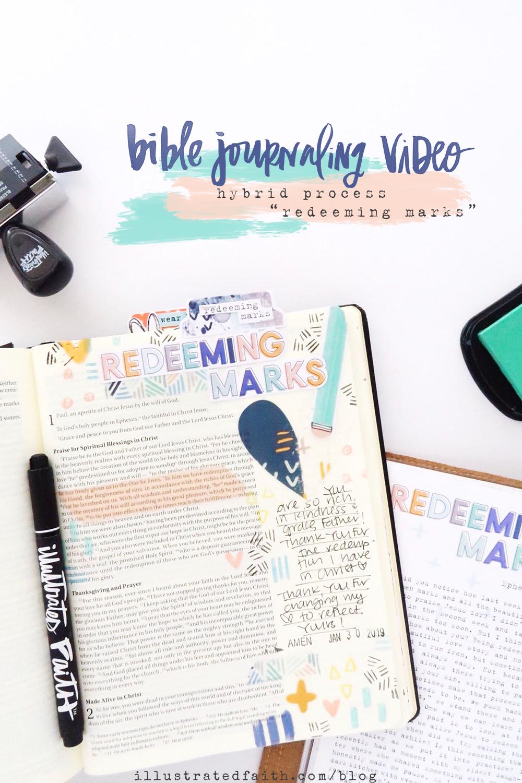 Redeeming Marks | Hybrid Bible Journaling Process Video by Jillian aka Hello Jillsky using digital printables and Mark Maker devotional kit | Ephesians 1:7