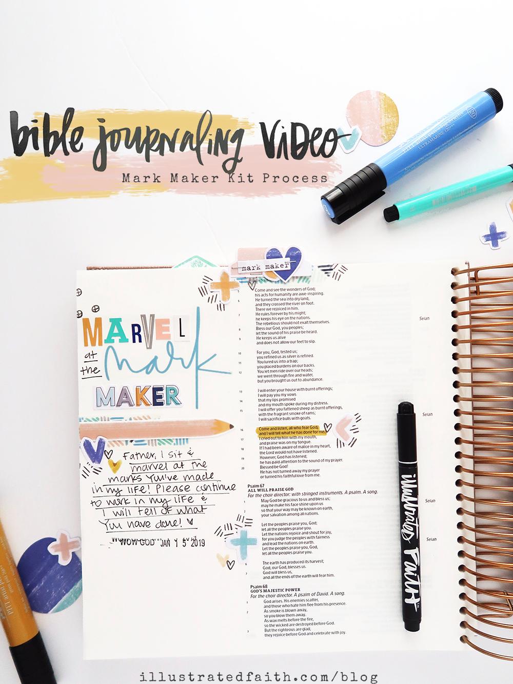 Marvel at the Mark Maker | Bible Journaling Process Video using the Illustrated Faith Mark Maker Kit by Jillian aka HelloJillsky | Psalm 66:16