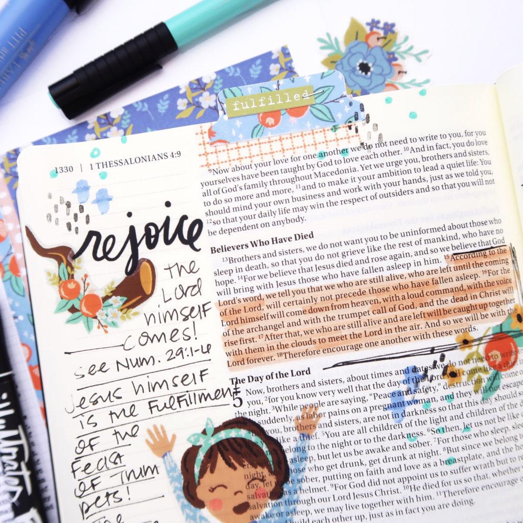 Print and Pray Bible Journaling Process Video by Jillian aka Hello Jillsky | New Year, New Mercies | 1 Thessalonians 4:16