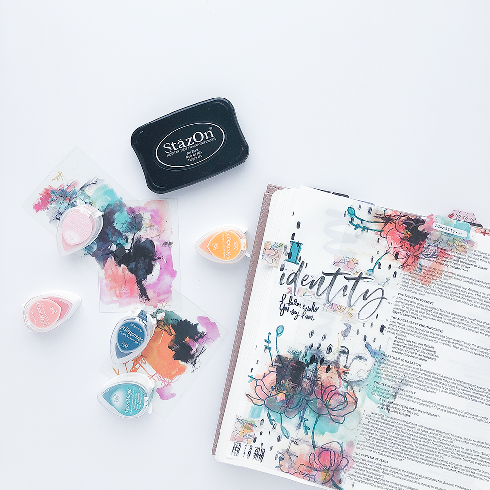 Mixed Media Bible Journaling Tutorial by Heather Greenwood | Stamping and Inks | The Joy Journey: Matthew 3:8