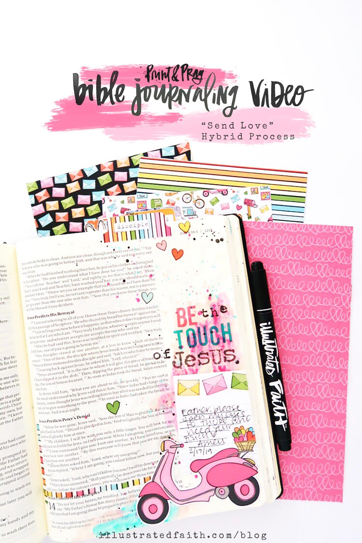 Send Love | Print & Pray Hybrid Bible Journaling Process Video by Jillian aka Hello Jillsky using digital printables | John 13:34-35