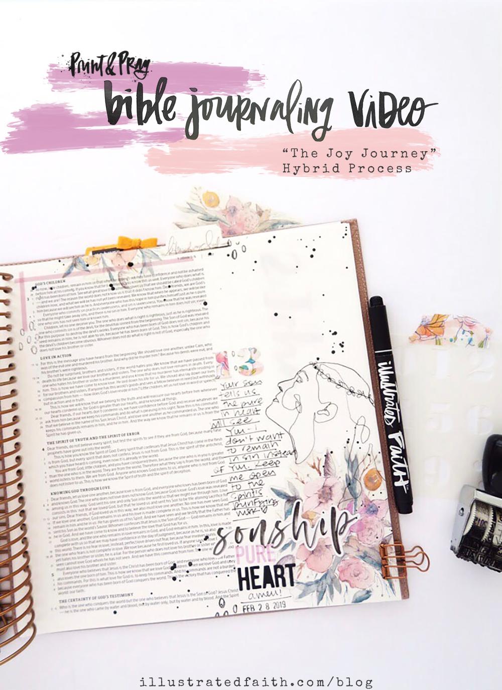 Hybrid Bible Journaling Process Video by Jillian aka Hello Jillsky using digital printables | Joy Journey | 1 John 3:1-6
