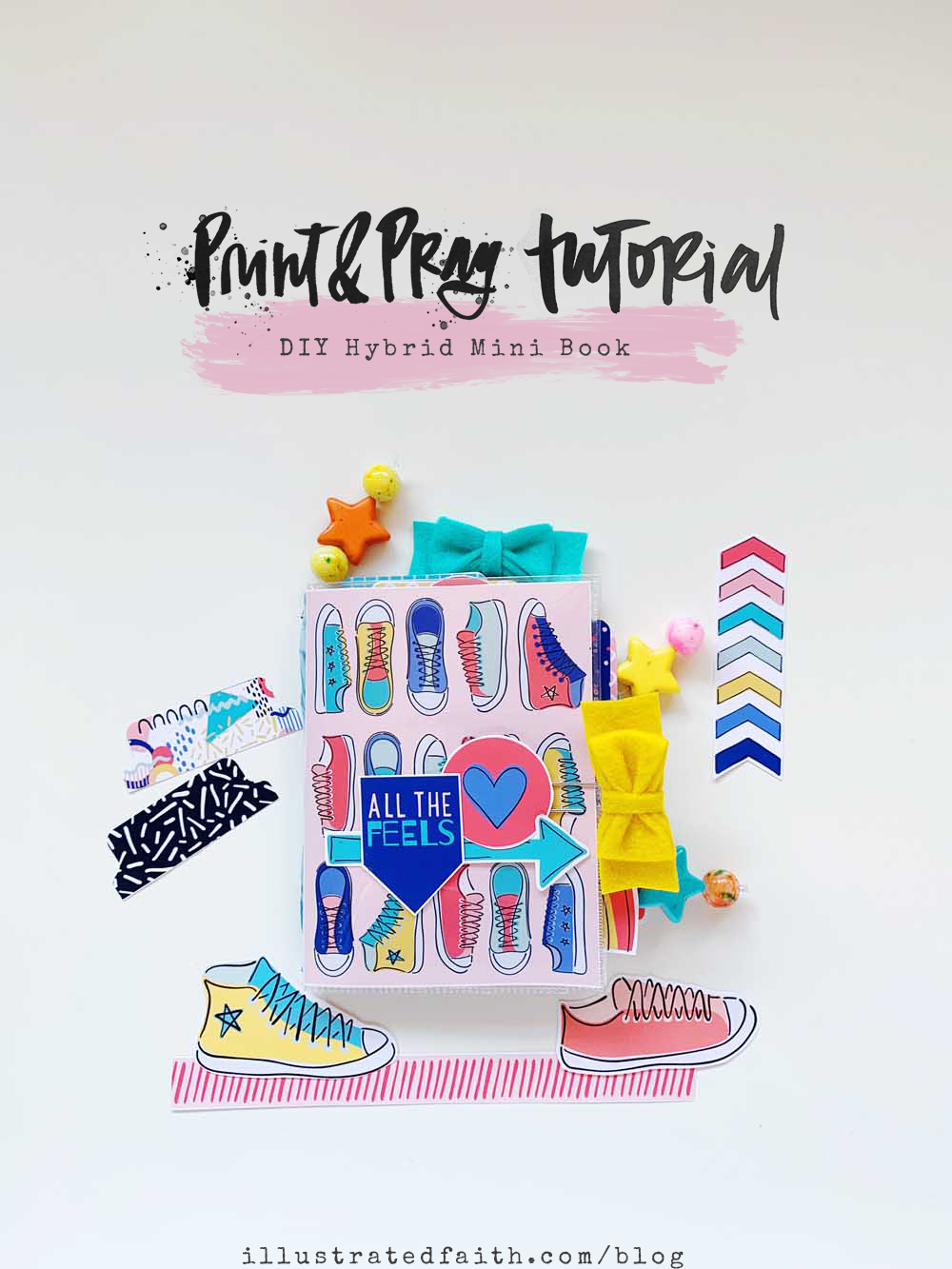 Hybrid Mini Book Tutorial with Print and Pray Shop Supplies by Cristin Howell using digital printables | All The Feels - Mixed Feelings