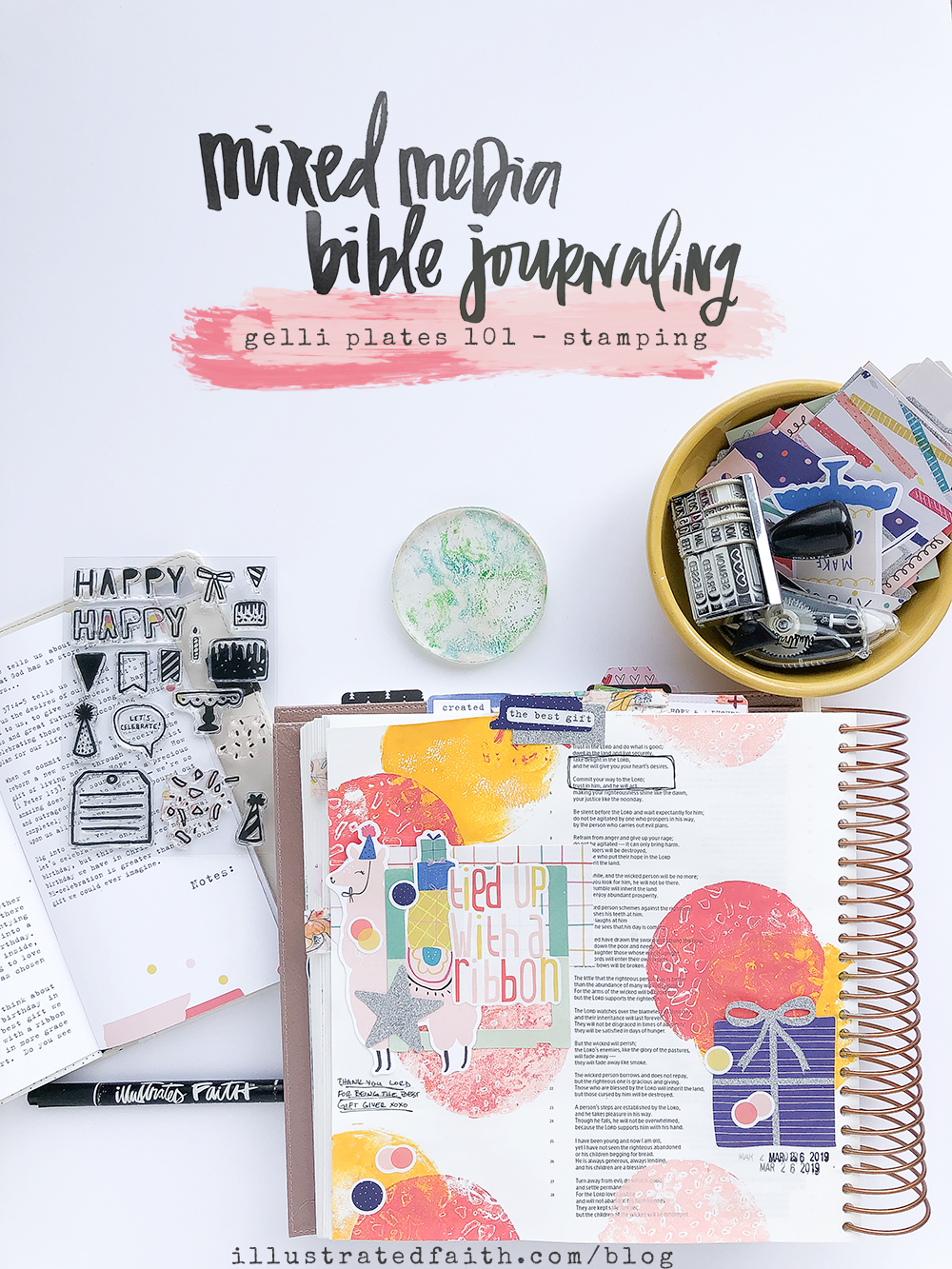 Mixed Media Bible Journaling - Gelli Plate Stamping Tutorial by Heather Greenwood   Tied Up With a Ribbon - Psalm 37:4-5