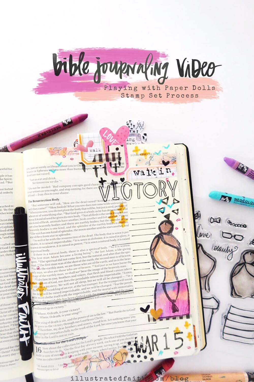 Mixed Media Bible Journaling Process Video with Beloved Society Paper Dolls by Jillian aka Hello Jillsky | 1 Corinthians 15:57