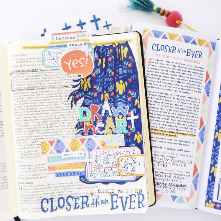 Hybrid Bible Journaling Process Video by Jillian aka Hello Jillsky using digital printables | Draw Near | Hebrews 10:19-22