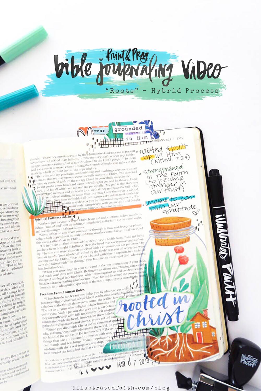 Hybrid Bible Journaling Process Video by Jillian aka Hello Jillsky using digital printables | Roots | Colossians 2:6-7