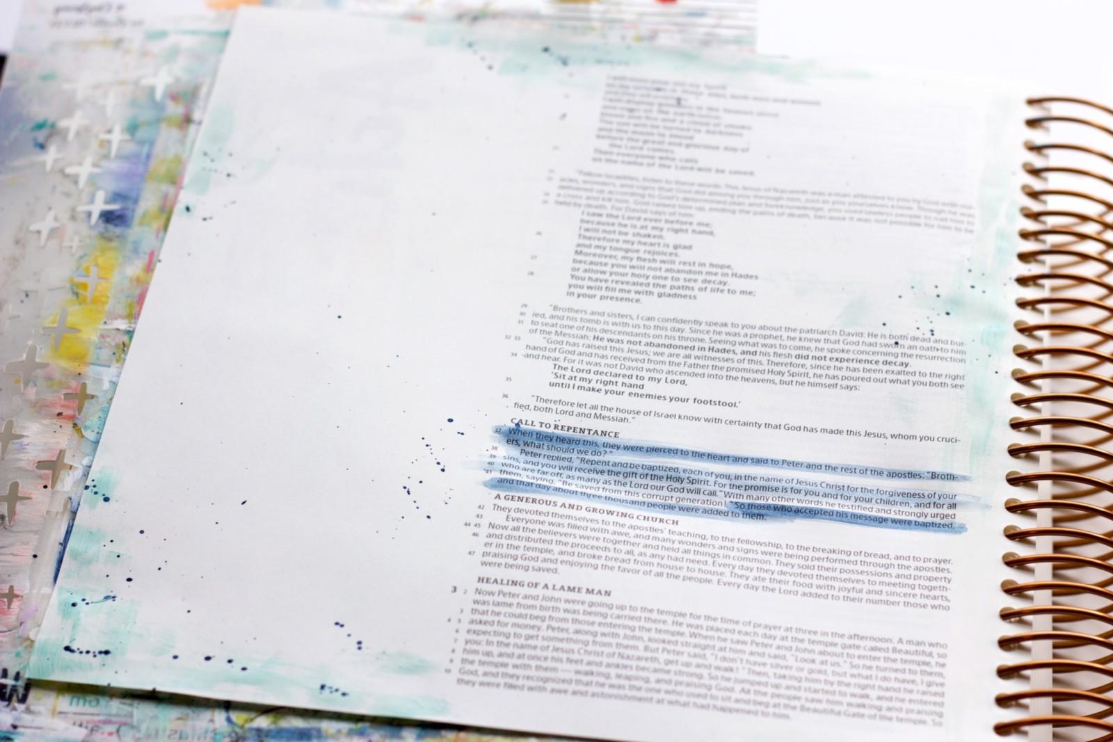 Print & Pray Mixed Media Bible Journaling by Jill Drangsholt using digital printables | Oh Happy Day - Forgiven and Free | Acts 2:36-41