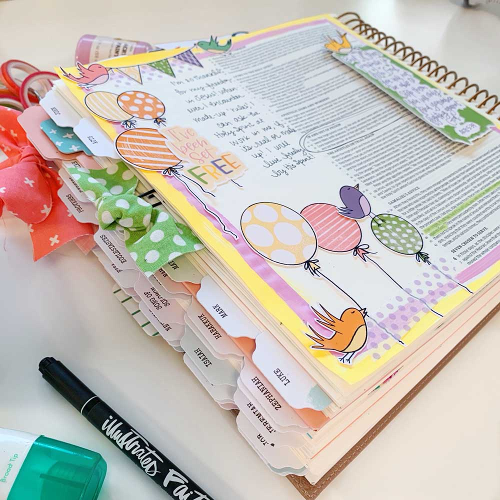 Print and Pray Hybrid Bible Journaling by Cristin Howell using digital printables | Set Free | Acts 5