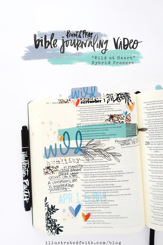 Print and Pray Hybrid Bible Journaling by Jillian aka HelloJillsky using digital printables | Wild at Heart | Philippians 2:3-8