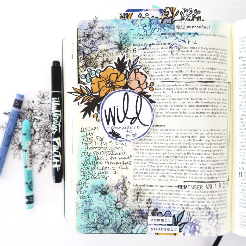 Mixed Media Bible Journaling Process Video by Jillian aka Hello Jillsky | Wild Obedience | Romans 6