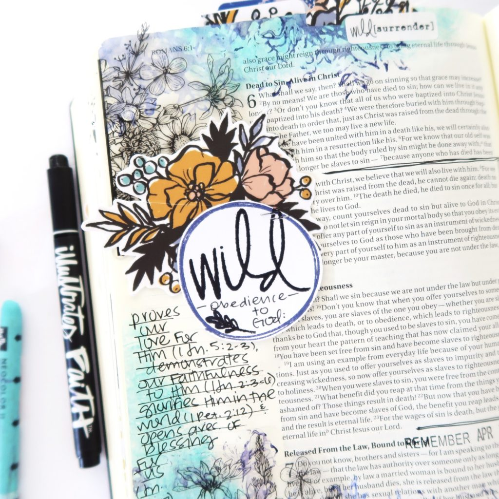 Mixed Media Bible Journaling Process Video by Jillian aka Hello Jillsky | Wild Obedience | Romans 6