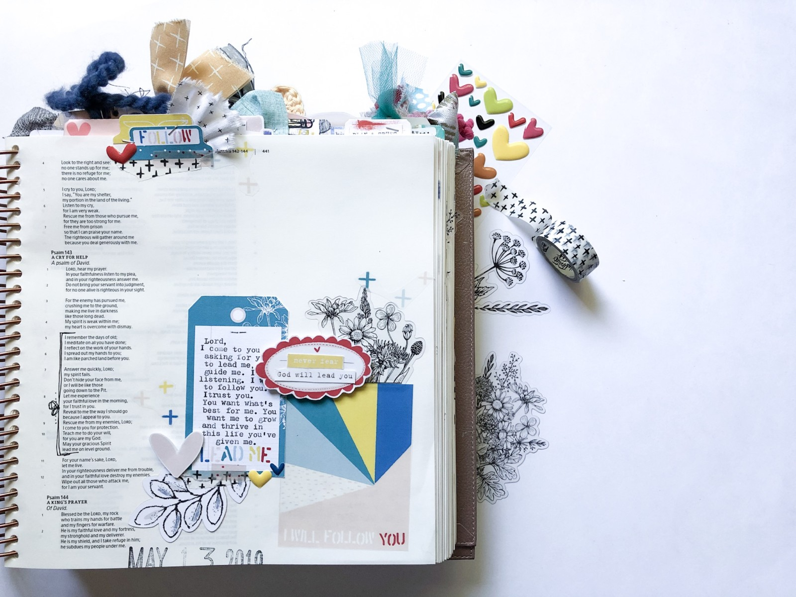Print and Pray Bible Journaling by Rebecca Jensen using digital printables | Lead Me | Psalm 143