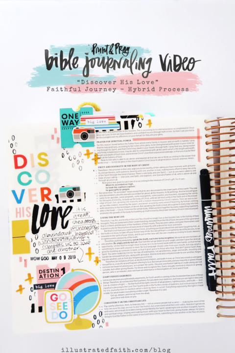 Print and Pray Bible Journaling Process Video | Discover His Love | Ephesians 3:18