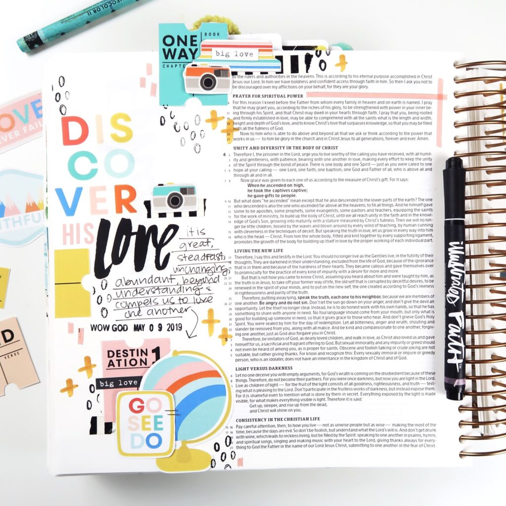 Print and Pray Bible Journaling Process Video by Jillian aka Hello Jillsky using digital printables | Discover His Love | Faithful Journey by Shawna Clingerman | Better Together Collab | Ephesians 3:18