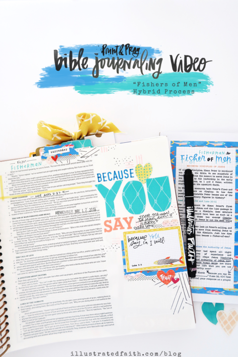 Print and Pray Bible Journaling Process Video | Fishers of Men Digital Devotional Kit | Luke 5:4-5