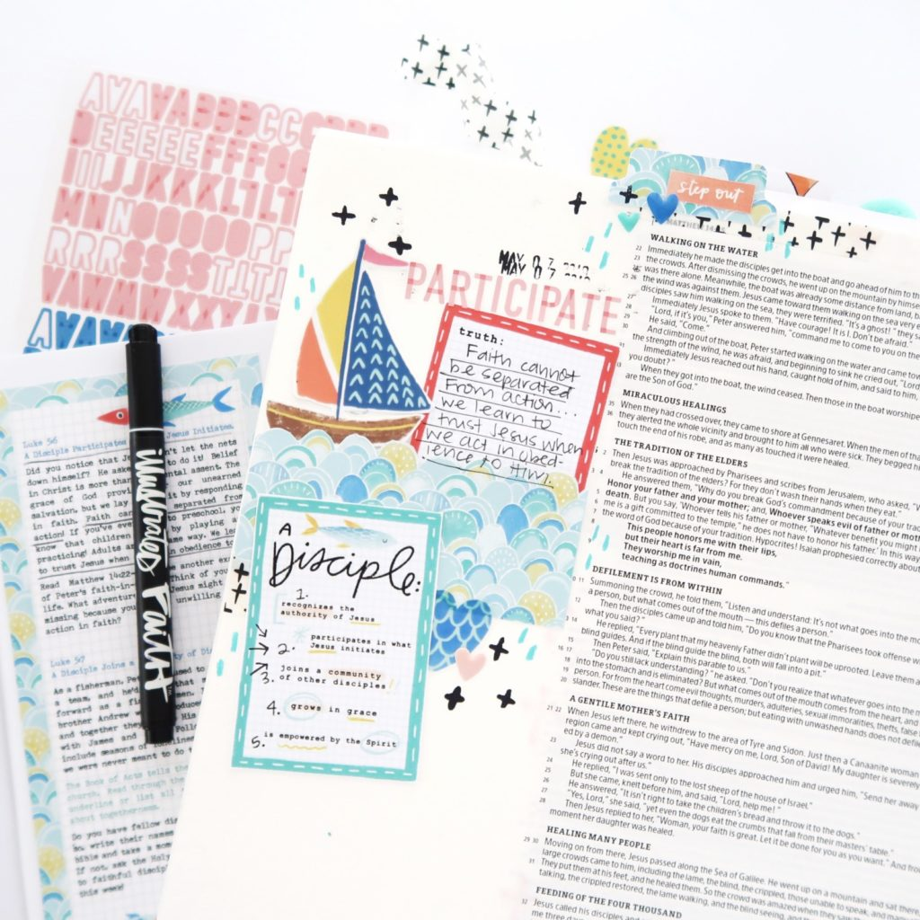 Print and Pray Bible Journaling Process Video by Jillian aka Hello Jillsky using digital printables | Fishers of Men Digital Devotional Kit | Luke 5:4-5