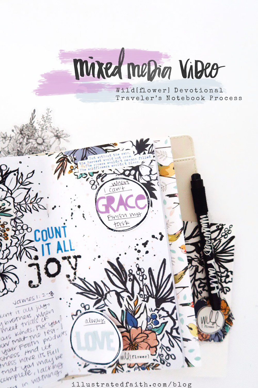 Traveler's Notebook Process Video by Jillian aka Hello Jillsky | Wild[flower] Devotional Kit | Wild Surrender | James 1:2-4