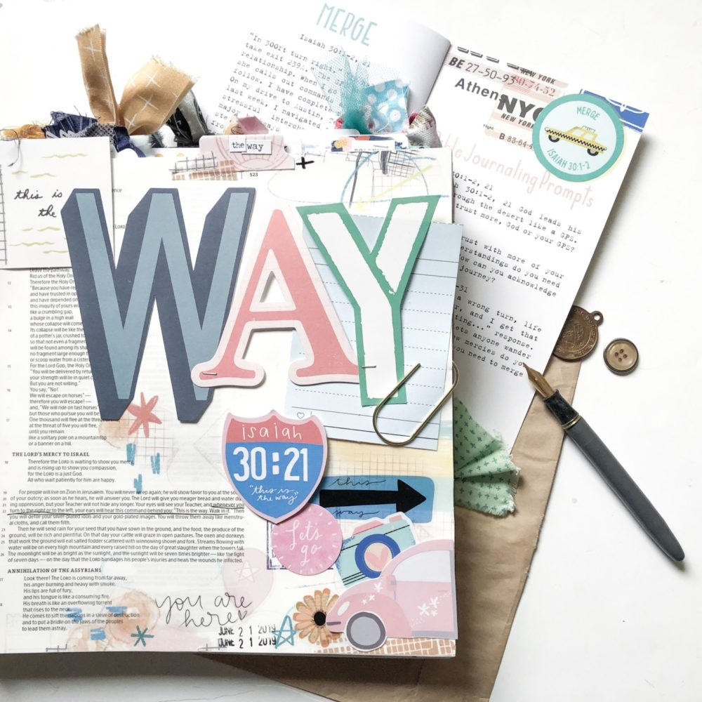 Print and Pray Bible Journaling by Rebecca Jensen using digital printables   This is the Way   Isaiah 30:21