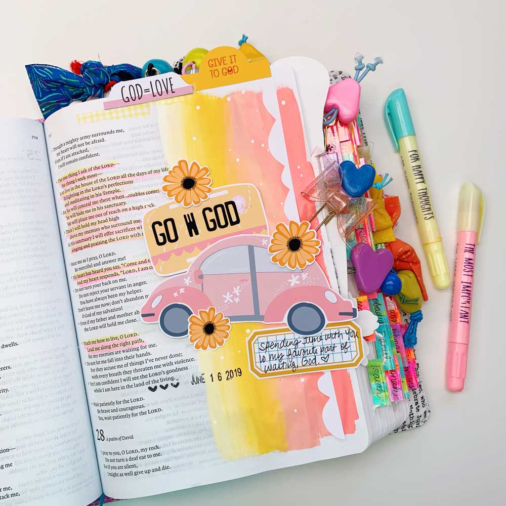 Print and Pray Hybrid Mixed Media Bible Journaling Tutorial by Cristin Howell using digital printables | Add a Color Gradient to Your Margins | Psalm 27
