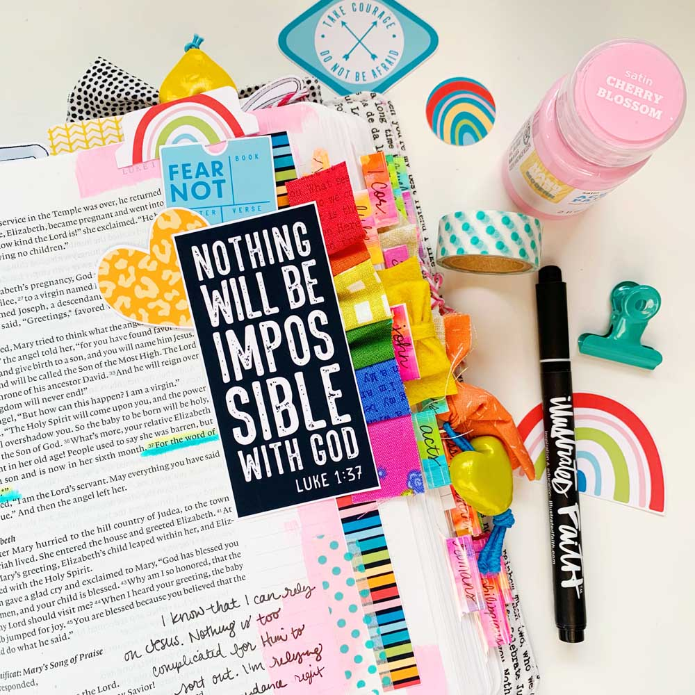 Mixed Media Hybrid Bible Journaling by Cristin Howell using digital printables | Nothing's Impossible for God | Luke 1:37