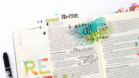 Print and Pray Hybrid Bible Journaling Process Video | Romans 12:1-2