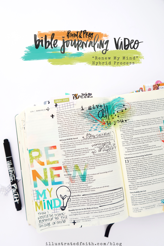Print and Pray Hybrid Bible Journaling Process Video by Jillian aka Hello Jillsky using digital printables | Romans 12:1-2
