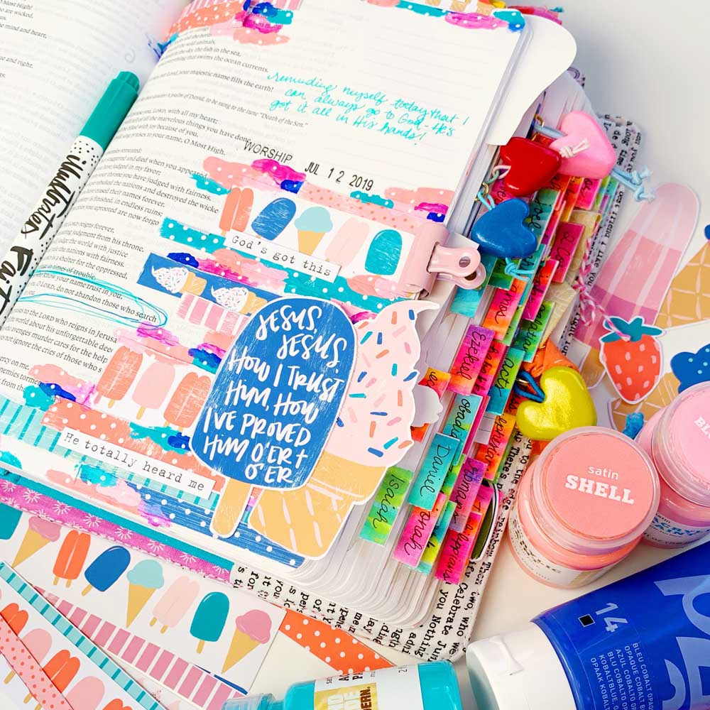Print and Pray Hybrid Bible Journaling Tutorial by Cristin Howell using digital printables   Let's Use Washi Strips!   Psalm 9:10