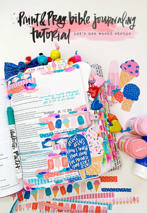 Print and Pray Hybrid Bible Journaling Tutorial | Let's Use Washi Strips! | Psalm 9:10