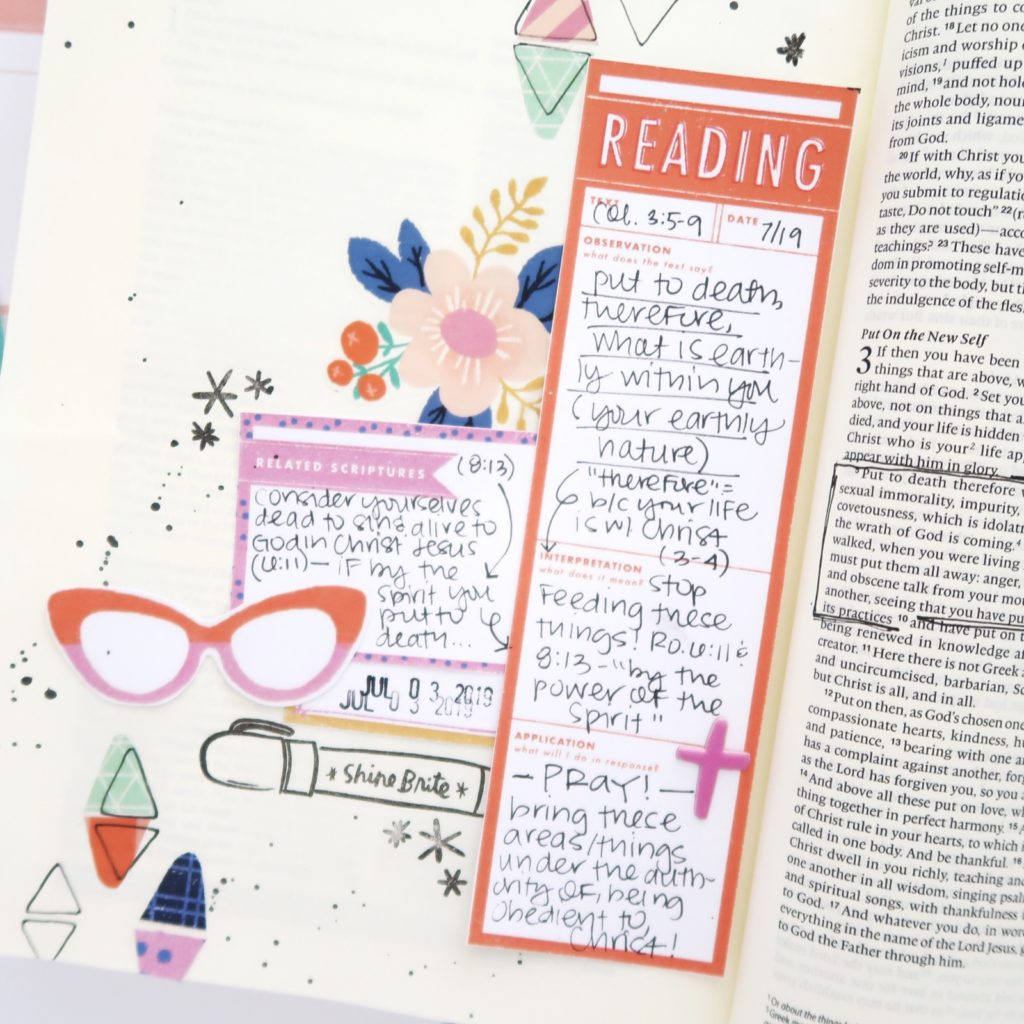 Print and Pray Hybrid Bible Journaling Process Video by Jillian aka Hello Jillsky using digital printables | The Living Word Devotional Kit | Colossians 3