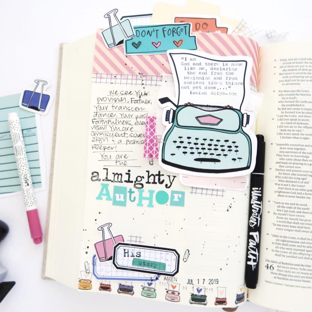 Bible Journaling Process Video by Jillian aka Hello Jillsky   Storyteller Devotional Kit   Almighty Author   Isaiah 46